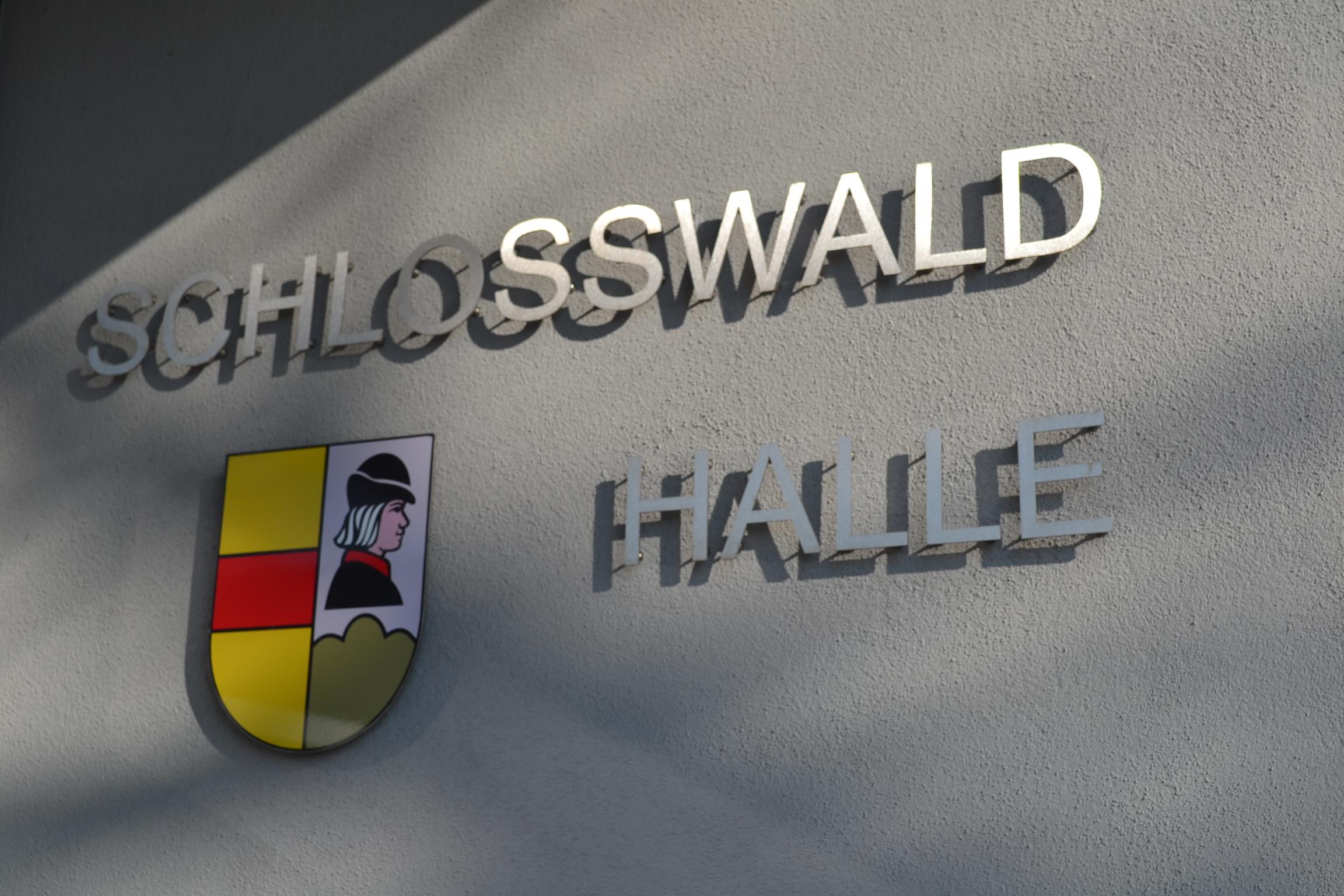 SchlosswaldhalleSchriftzugWappen